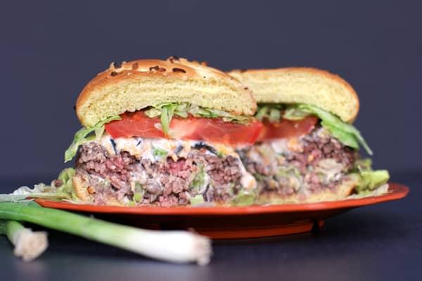 Seven Layer Taco Dip Burger | Melanie Makes melaniemakes.com