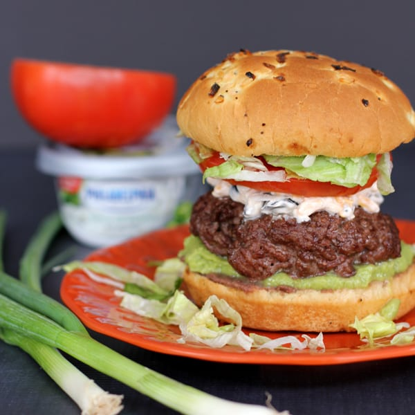 Seven Layer Taco Dip Burger | Melanie Makes melaniemakes.com