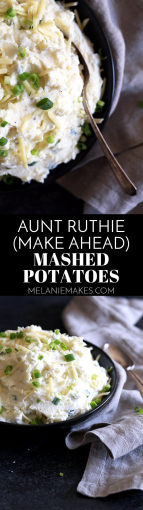 Nothing compares to my make ahead Aunt Ruthie Mashed Potatoes.  No other mashed potatoes even come close.  Cream cheese, butter, yogurt and green onions are mixed into fluffy clouds of mashed potatoes that are then topped with cheddar cheese to create the most amazing side dish that you'll wish was your main course.  These potatoes can be prepared ahead of time in a slow cooker, too!