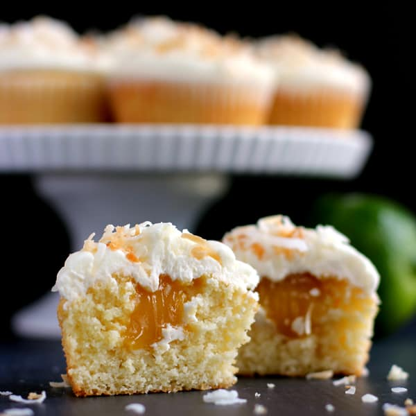 Key Lime Curd Stuffed Corona Cupcakes with Coconut Buttercream | Melanie Makes melaniemakes.com