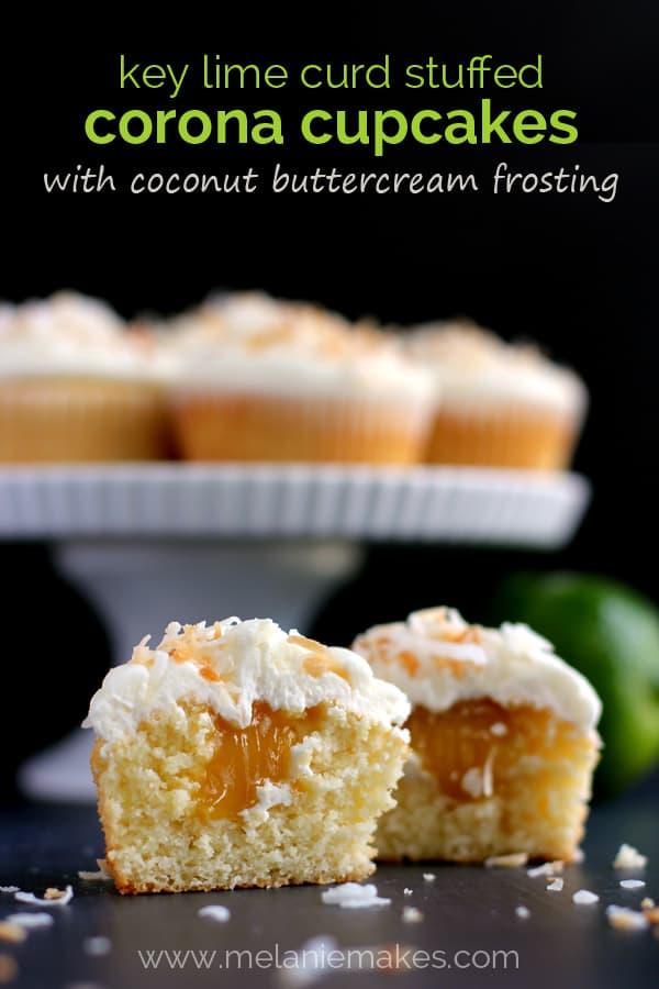Key Lime Curd Stuffed Corona Cupcakes with Coconut Buttercream | Melanie Makes melaniemakes.com