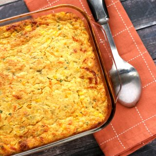Green Chile and Chive Cornbread Casserole | Melanie Makes melaniemakes.com