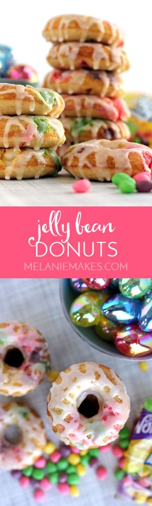 The perfect treat created with candy from your Easter basket stash! These Jelly Bean Donuts are bedazzled with spring colored jelly beans and covered with a vanilla sugar glaze. They're sure to be a hit with anyone with a sweet tooth!