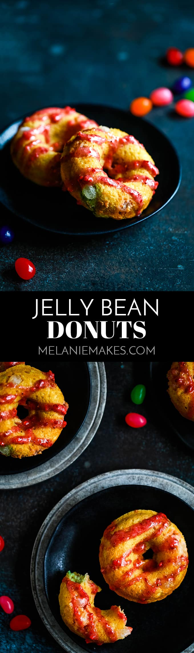These Jelly Bean Donuts are studded with jelly beans and drizzled with a strawberry glaze.  The perfect treat starring candy from your Easter basket! #easter #jellybean #candy #breakfast #donutparty #brunch #easyrecipe