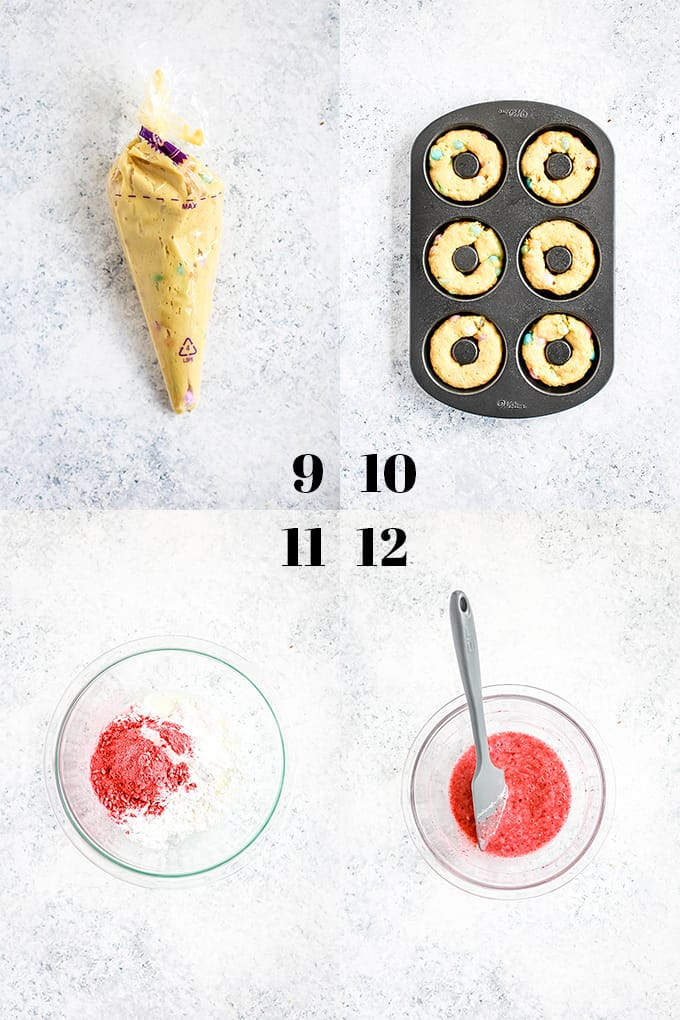 How to prepare Jelly Bean Donuts, steps 9-12.