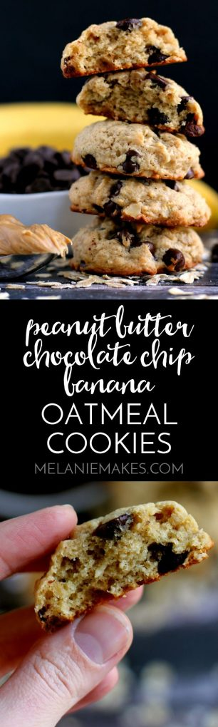 These Peanut Butter Chocolate Chip Banana Oatmeal Cookies are the lightest, fluffiest cookies you've ever put in your mouth! All of your favorite cookie ingredients packed into a single cookie.