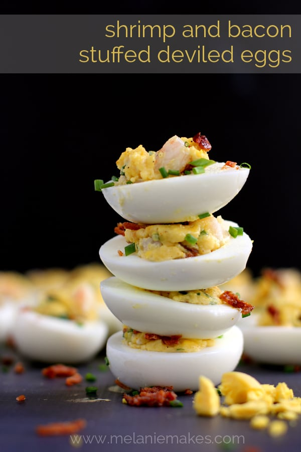 Shrimp and Bacon Stuffed Deviled Eggs | Melanie Makes melaniemakes.com