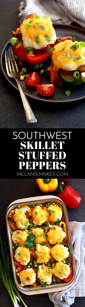 Stuffed peppers in only 30 minutes? Totally possible! These Southwest Skillet Stuffed Peppers are part shepherd's pie, part stuffed pepper and seasoned like a taco. Topped with a fluffy mound of mashed potatoes and melty cheese, you'll have a delicious weeknight dinner on the table in no time.