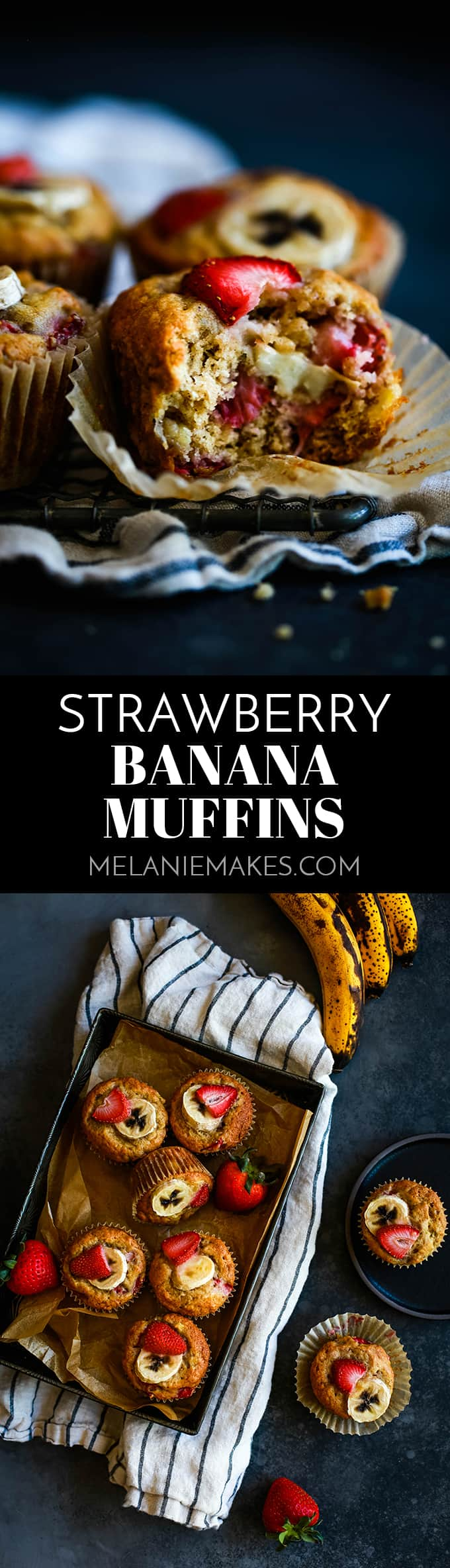 These fluffy Strawberry Banana Muffins take just 15 minutes to prepare and are bedazzled with large pieces of fresh, diced strawberries. #strawberry #banana #muffins #breakfastrecipes #brunch #easyrecipe