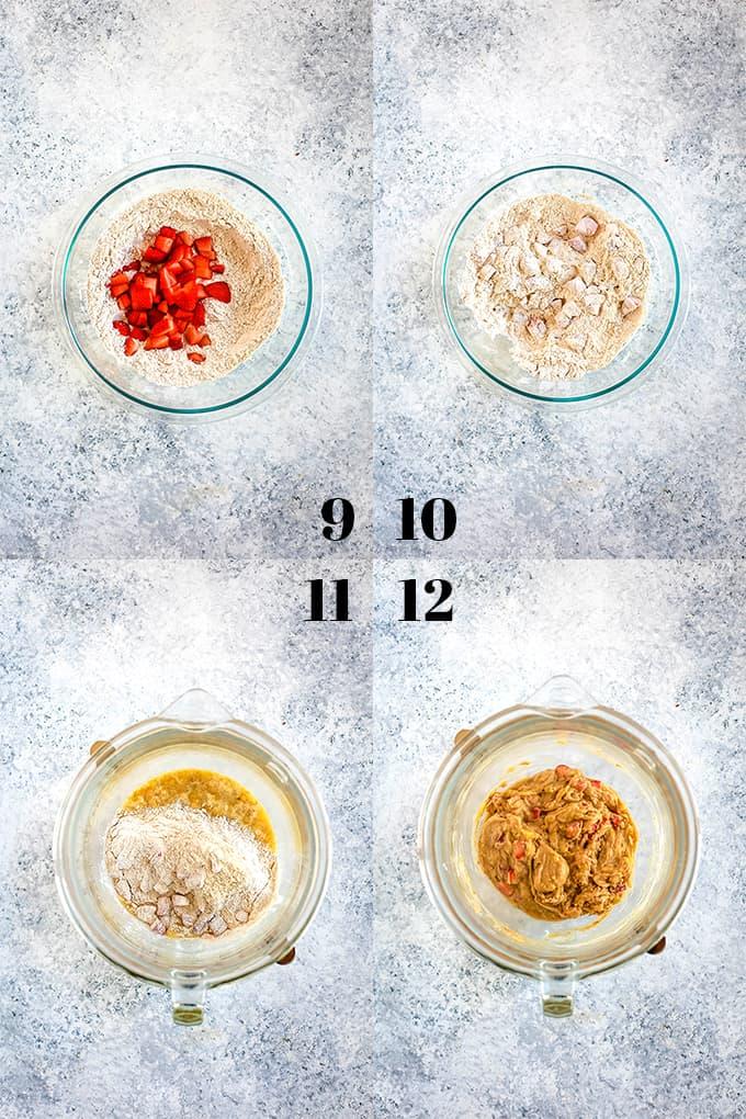 How to prepare Strawberry Banana Muffins, steps 9-12.
