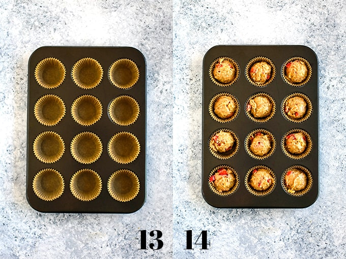 How to prepare Banana Strawberry Muffins, steps 13-14.