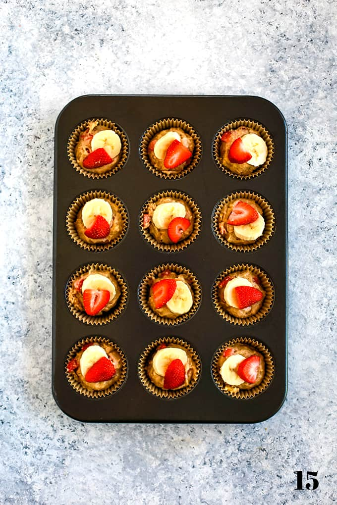 How to prepare Strawberry Banana Muffins, step 15.