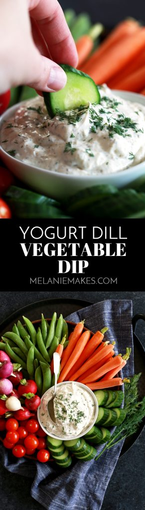 Just five ingredients and a stir of a spoon is all that it takes for you to create this fresh and flavorful Yogurt Dill Vegetable Dip. #yogurt #dill #dips #appetizers #mayonnaise #garlic
