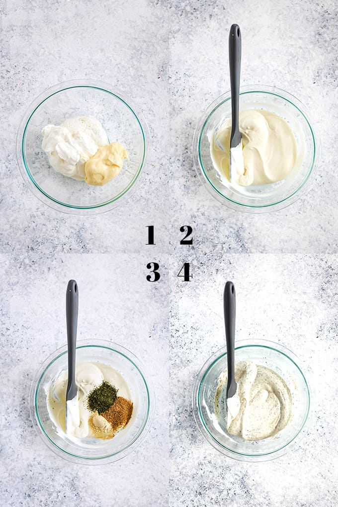 How to prepare Yogurt Dill Vegetable Dip, steps 1-4.