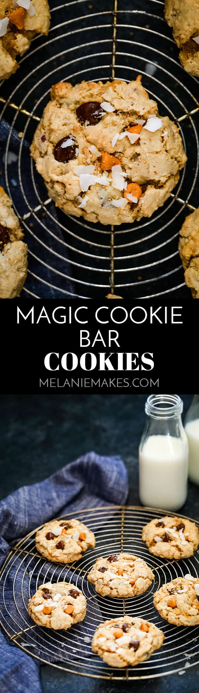Loaded with chocolate and butterscotch chips, coconut, pecans and graham cracker crumbs, these Magic Cookie Bar Cookies are guaranteed to disappear quickly! #cookies #chocolate #butterscotch #coconut #dessertrecipes #magiccookiebars