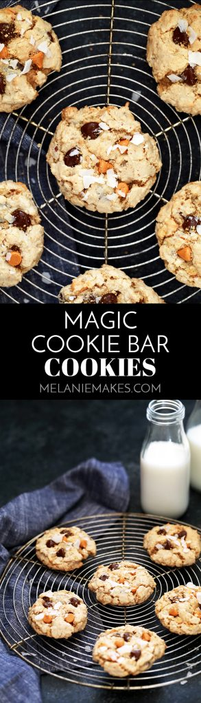 Crispy on the outside and chewy on the inside, these Magic Cookie Bar Cookies are made in one bowl and prepared in just 15 minutes. Loaded with chocolate chips, butterscotch chips, coconut, pecans and graham cracker crumbs, these delicious cookies are guaranteed to disappear quickly. #magiccookiebars #cookies #butterscotch #coconut #chocolate #cookiejar #cookierecipe
