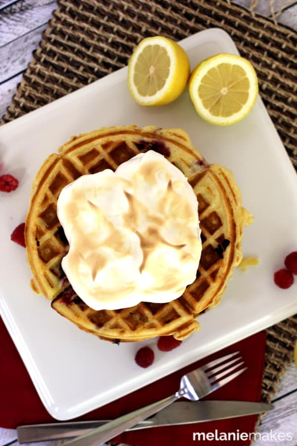 Raspberry Lemon Meringue Waffles | Melanie Makes