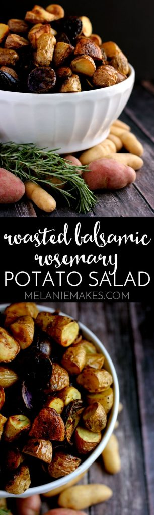 This Roasted Balsamic Rosemary Potato Salad says sayonara to mayonnaise! Instead, these rosemary flecked potatoes are roasted with red onion and garlic and dressed withextra-virgin olive oil and balsamic vinegar. Served warm or at room temperature, this potato salad aims to please.
