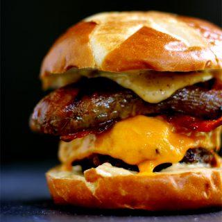 Sweet and Smoky Bacon Brat Burger | Melanie Makes