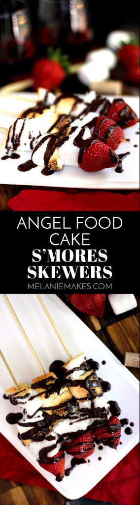 These Angel Food Cake S'mores Skewers are the perfect adult spin on a childhood favorite. A perfectly toasted marshmallow is skewered between two pieces of angel food cake and topped with a strawberry before being drizzled with a luscious dark chocolate sauce spiked with wine.