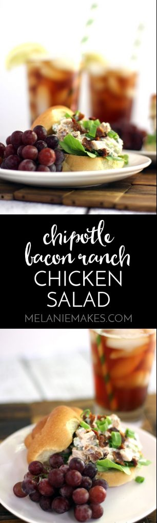 This make ahead Chipotle Bacon Ranch Chicken Salad is the perfect warm weather lunch or dinner. Grilled chicken, Greek yogurt, green onions and bacon are flavored with ranch dressing mix and chipotle pepper to provide a refreshing chicken salad that packs a bit of heat.