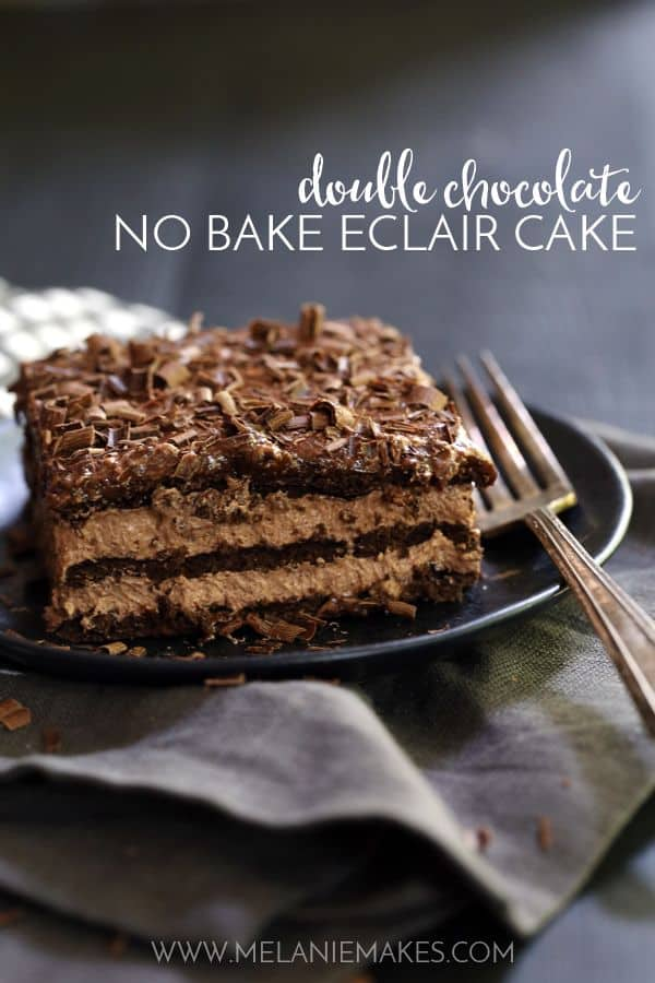 Layers of chocolate graham crackers, chocolate pudding and whipped topping create a rich and decadent no-bake Double Chocolate Eclair Cake that you can prepare in just 10 minutes. Even better? A quick and easy take on chocolate ganache that tops the entire cake.