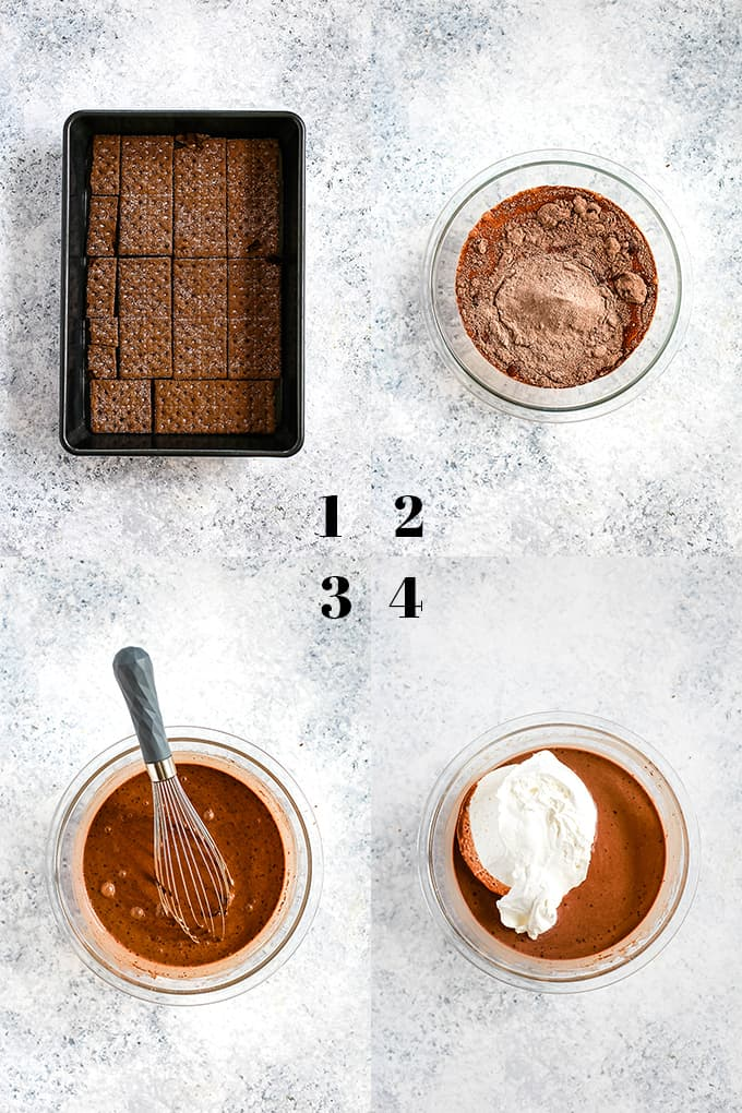 How to prepare Double Chocolate Eclair Cake, steps 1-4.