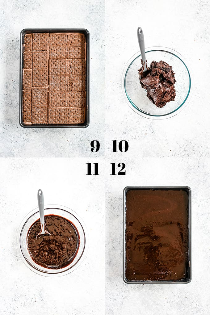 How to prepare Double Chocolate Eclair Cake, steps 9-12.