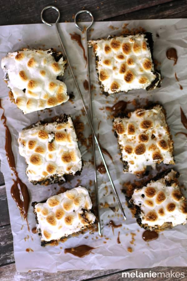 Dulce de Leche Swirl S'mores Brownies | Melanie Makes