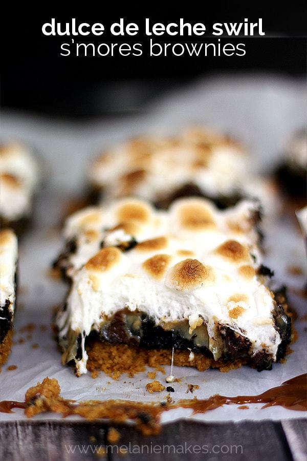 Dulce de Leche Swirl S'mores Brownies   Melanie Makes