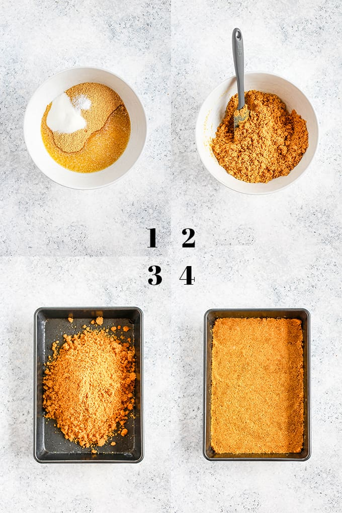 How to prepare Dulce de Leche Swirl S'mores Brownies, steps 1-4.