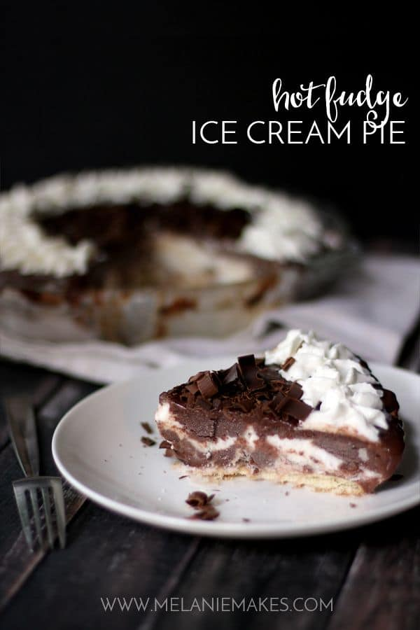A cold and refreshing Hot Fudge Ice Cream Pie, perfect for the hottest of Summer days. A quick and easy vanilla wafer crust is covered in layers of vanilla ice cream and homemade hot fudge sauce. This six ingredient dessert is a family favorite and is sure to become yours, too!