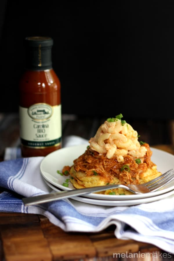 Mac and Cheese Barbecue Chicken Corn Cakes | Melanie Makes