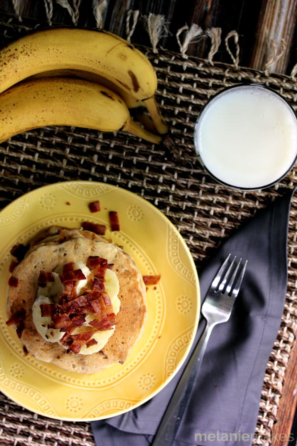 Peanut Butter Banana Bacon Pancakes | Melanie Makes