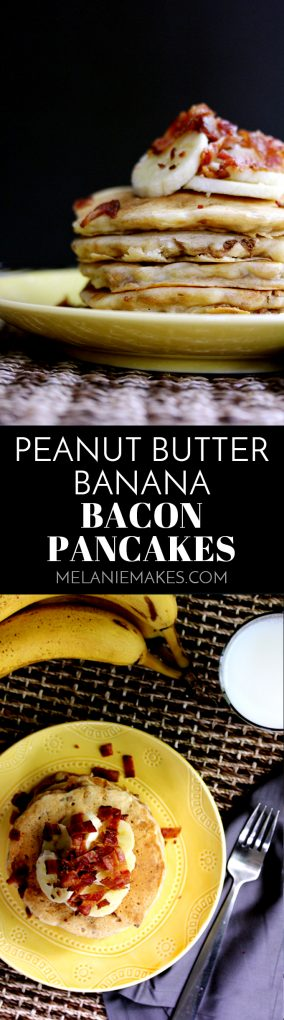 These Peanut Butter Banana Bacon Pancakes taste as good as they sound, especially when topped with Peanut Butter Maple Syrup!  Flapjacks flavored with banana and melted peanut butter and then studded with bacon.  Perfect for breakfast, lunch or dinner.