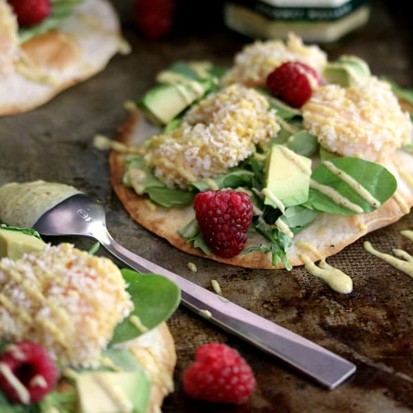 Raspberry Wasabi Shrimp Tostadas | Melanie Makes