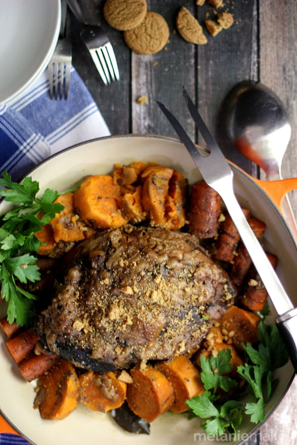 Forget your typical pot roast! This Slow Cooker Gingersnap Pot Roast not only takes minimal time to prepare but the end result is anything but ordinary. A gingersnap crusted roast is cooked over a bed of sweet potatoes and carrots. A bit sweet, a bit spicy and definitely a meal that will have your family asking for seconds!