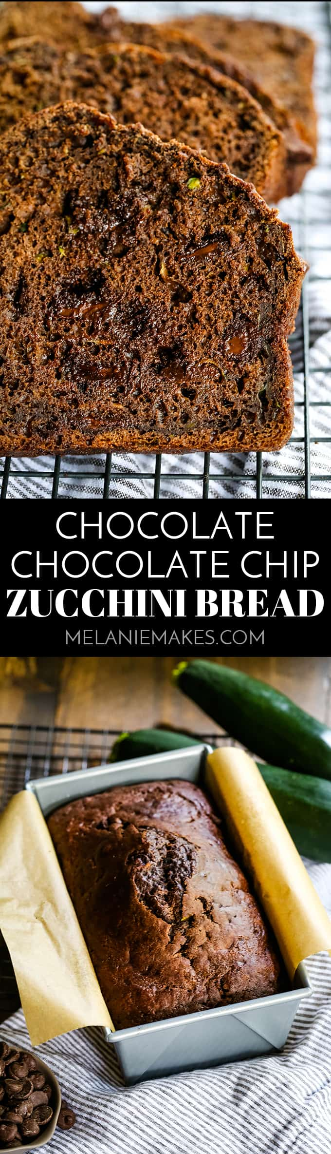 This easy Chocolate Chocolate Chip Zucchini Bread not only has a chocolate batter but is also studded with chocolate chips making it truly decadent! #chocolate #zucchini #bread #baking #easyrecipe