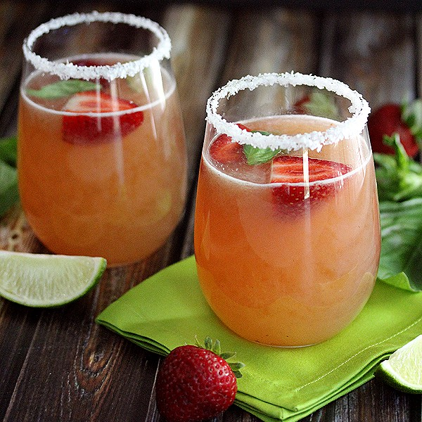 Easiest Ever Strawberry Basil Margaritas