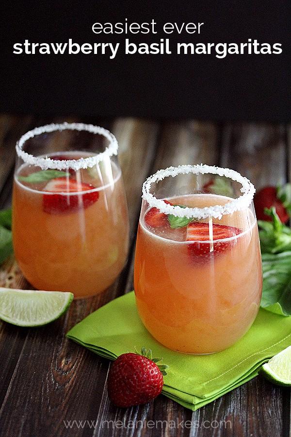 Easiest Ever Strawberry Basil Margaritas | Melanie Makes