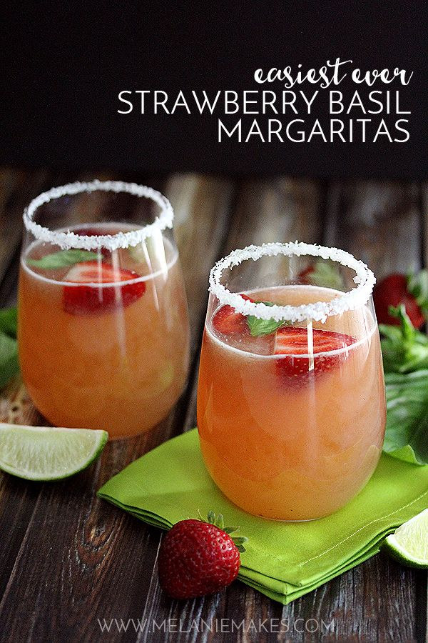 Easiest Ever Strawberry Basil Margaritas   Melanie Makes