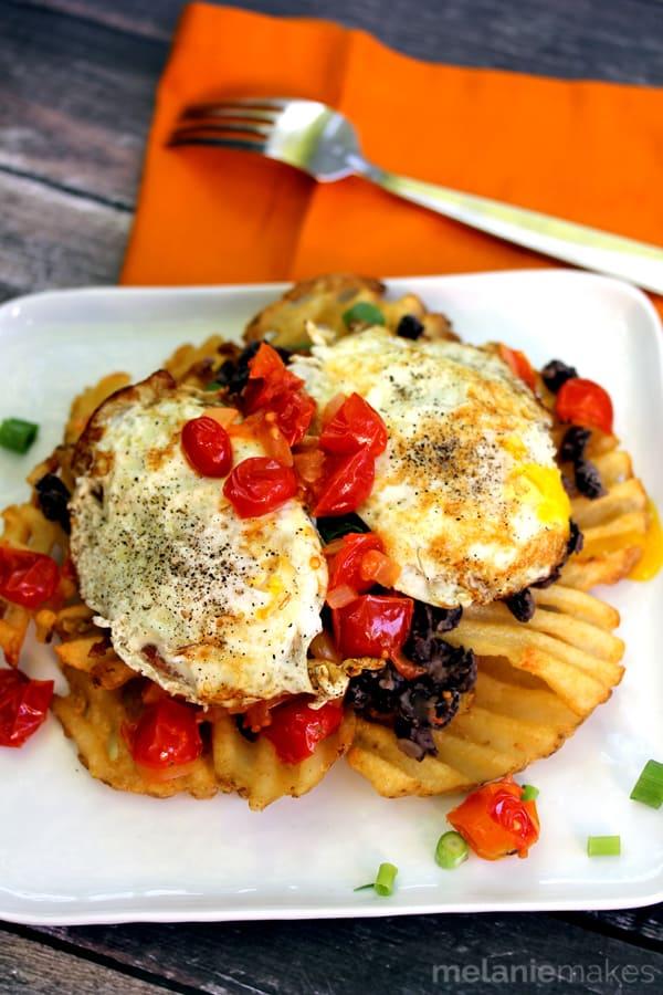 Huevos Rancheros Waffle Fries - Melanie Makes