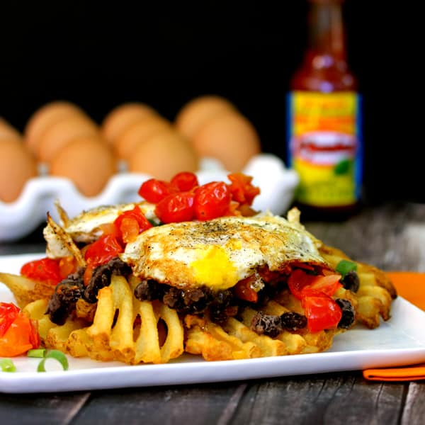 Huevos Rancheros Waffle Fries | Melanie Makes