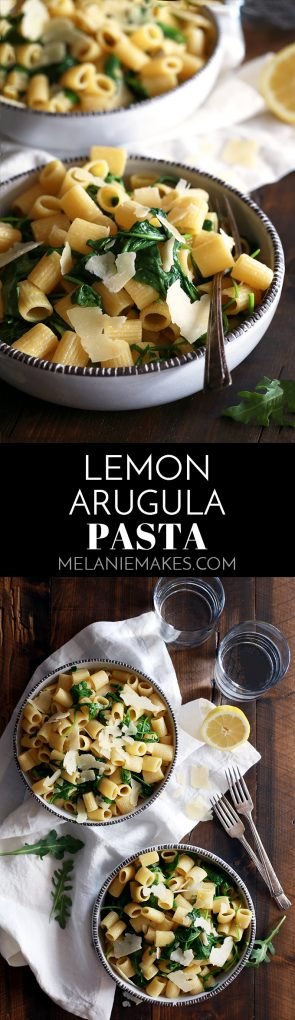 This Lemon Arugula Pasta is the answer to getting dinner on the table quickly with minimal effort. Your favorite pasta is tossed with lemon juice and zest, arugula and olive oil before being showered with Parmesan cheese.