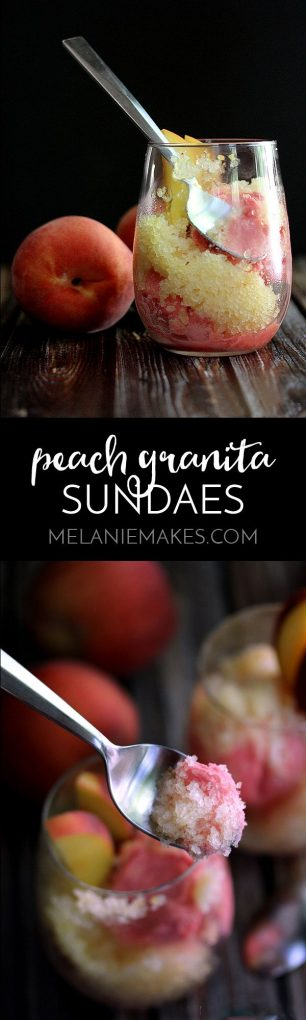 These Peach Granita Sundaes are the perfect end of Summer dessert. Water, sugar, peaches and Riesling wine take a spin in a blender before being poured into a pan and ushered to the freezer. The final touch? Serving this icy, peach goodness over a scoop of ice cream.