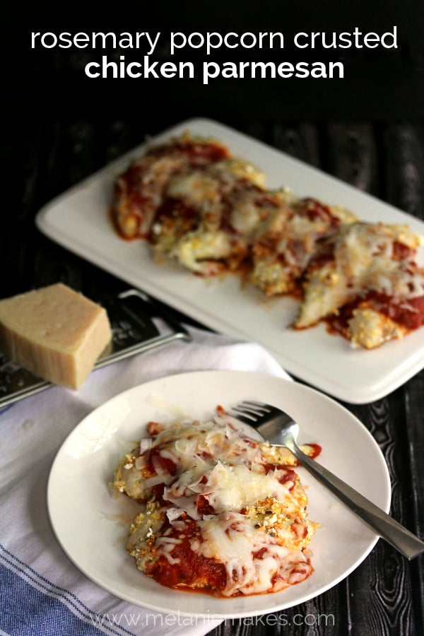 Rosemary Popcorn Crusted Chicken Parmesan | Melanie Makes