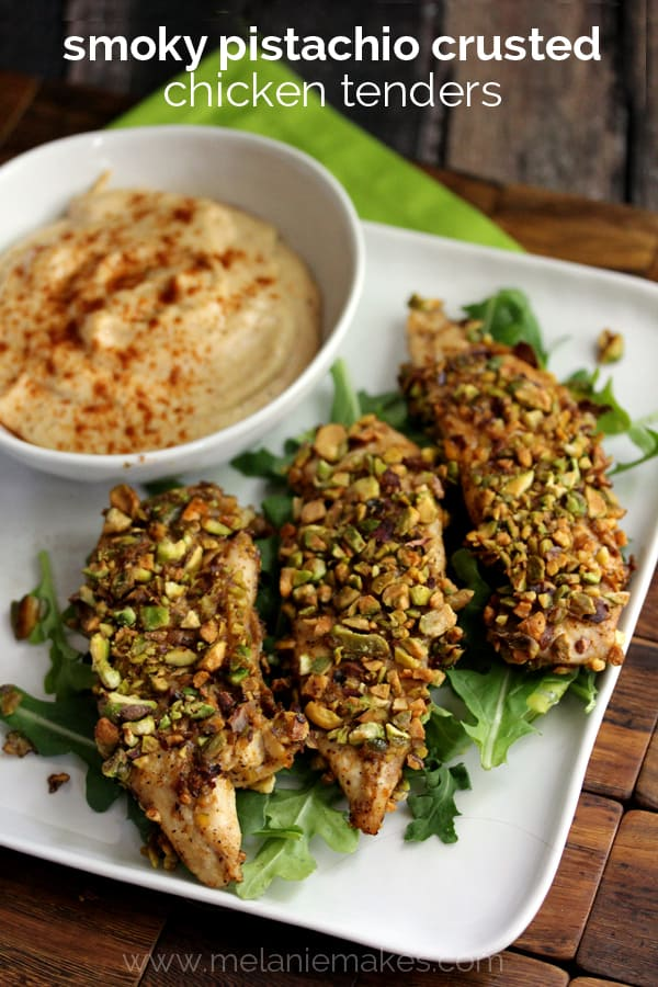 Smoky Pistachio Crusted Chicken Tenders | Melanie Makes
