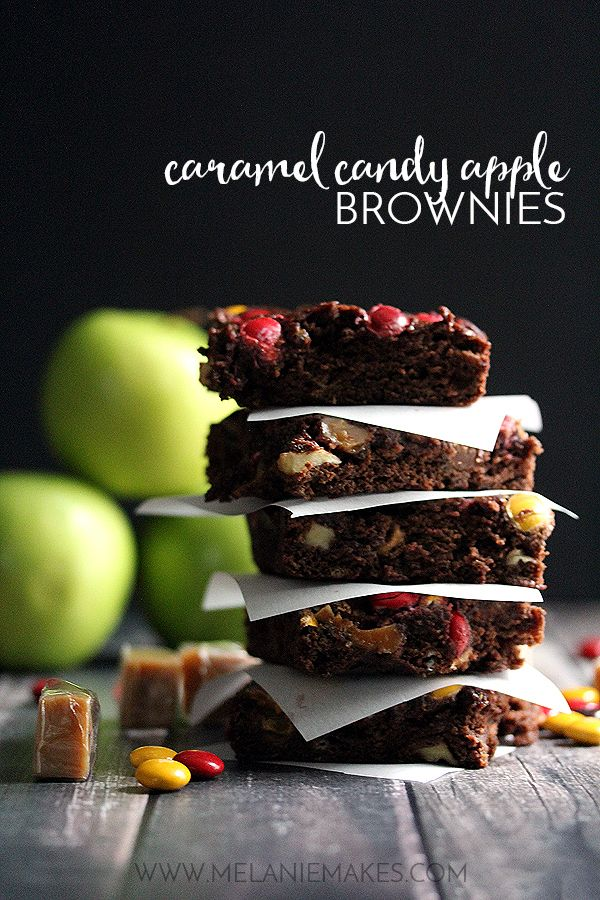 Bits of caramel and M&Ms speckle the top of each and every one of these Caramel Candy Apple Brownies making each bite as good as the last.  Forget the candy apple on a stick, these brownies are where it's at!