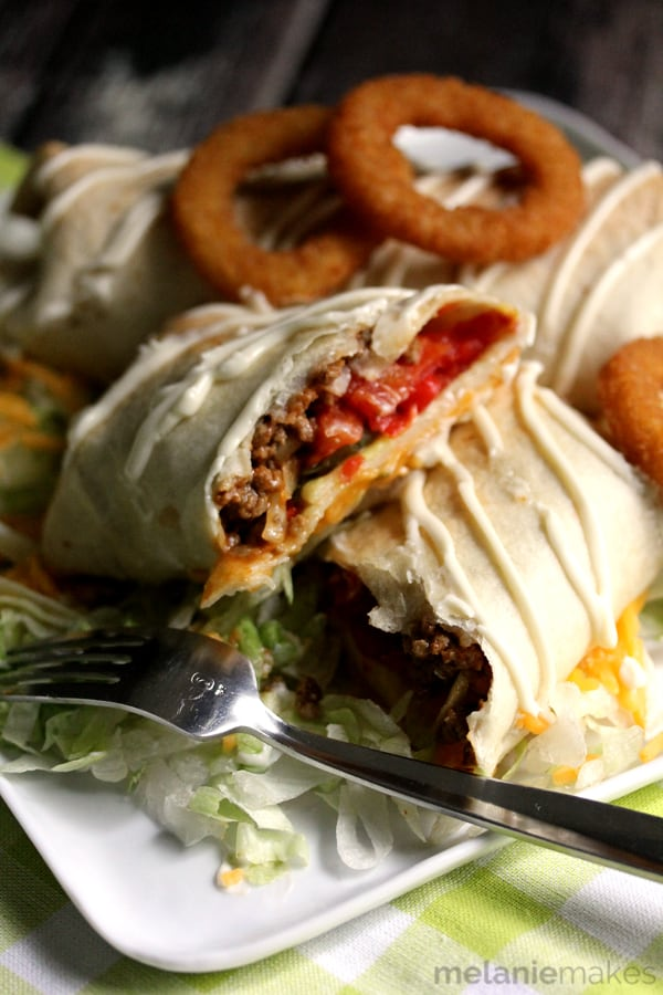 Cheeseburger Chimichangas featured at the Saturday Night Fever Link Party