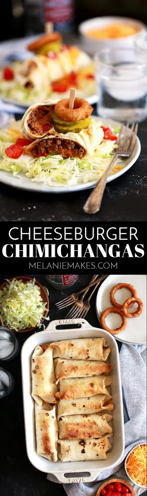 These crispy Cheeseburger Chimichangas will have your eyes thinking Mexican food but the taste is all-American!  Ground beef spiked with ketchup and mustard along with all of your favorite burger toppings are rolled into a flour tortilla and baked until crisp.  They're then placed on a bed of shredded lettuce before being adorned with more cheese and tomatoes and drizzled with mayonnaise. #burger #cheeseburger #mexican #chimichanga #beef #cheese #maindish #easyrecipe